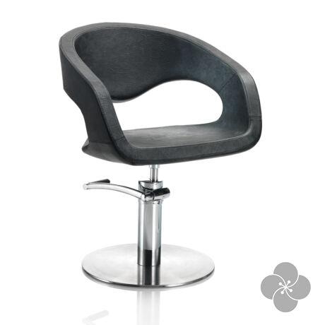 Hair Wave fekete fodrász szék - kör talppal