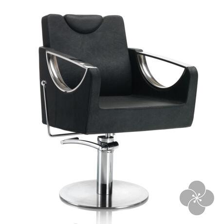 Hair Crown fekete fodrász szék - kör talppal